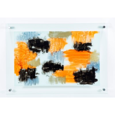 Sienna Haze Painted Glass Wall Art
