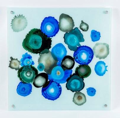 Cobalt Dots Painted Glass Wall Art