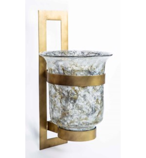 Large Wall Sconce in Granite Dust Finish w/ Steel Base in Antique Brass