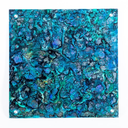 "Rain Dance Painted Glass Wall Art - 32"" Square"