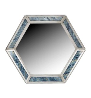 Darcy Hexagonal Mirror in Silver with Glass Inserts in Stratosphere Finish