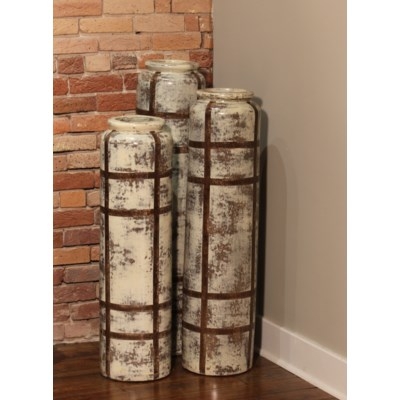 Large Floor Cylinder in Cotton Bail Finish