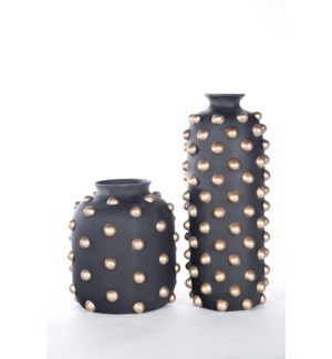 Small Studded Vase in Black with Gold Dots