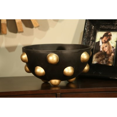 Bowl with black and Gold Dots