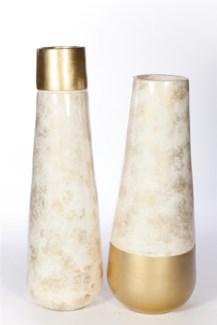 Medium Vase in Gold Tipped Ivory Finish