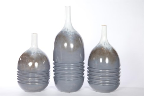 Large Ribbed Table Vase in Calm Waters Finish