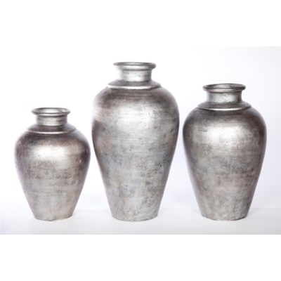 Large Table Vase in Silver Cast Finish