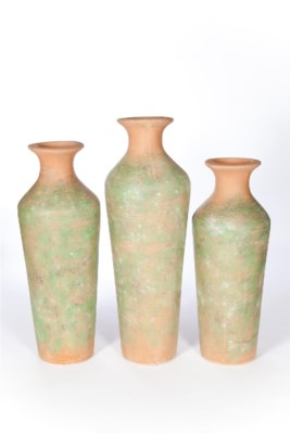 Large Fluted Tibor Vase in Mossy Clay Finish