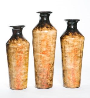 Large Fluted Tibor Vase in Spiced Mustard