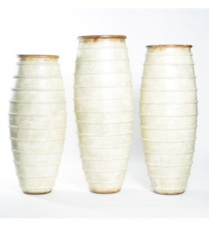 Large Ribbed Floor Vase in Parchment