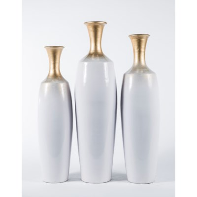 Large Table Bottle in Winter White Finish