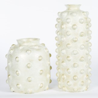 Large Studded Vase in Weathered Stone Finish