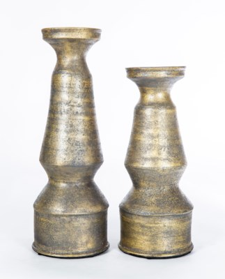Set of 2  Classic Candle Holders in Charcoal Smudge Finish