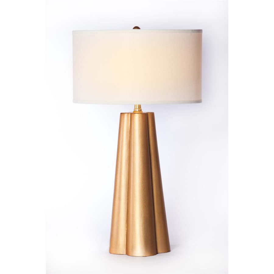"""""""Ava Table Lamp in Aged Gold Finish with 18"""""""" Drum Shade White/White"""""""