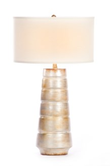 """Madison Table Lamp in Burnished Birch Finish with White/White 18"""" Drum Shade"""