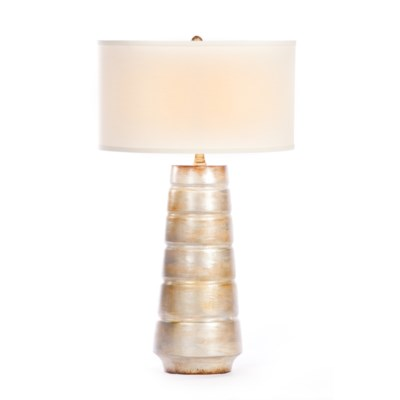 """""""Madison Table Lamp in Burnished Birch Finish with White/White 18"""""""" Drum Shade"""""""