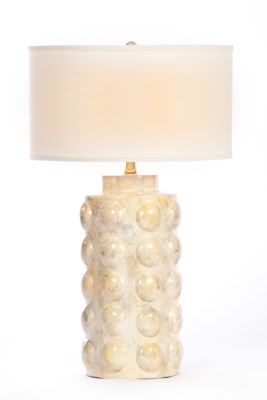 """""""Zoey Table Lamp in Candle Wax Finish with White/White 18"""""""" Drum Shade"""""""