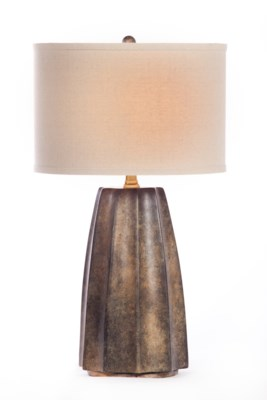 """""""Joseph Table Lamp in Rawhide Finish with Linen/White 15"""""""" Drum Shade"""""""