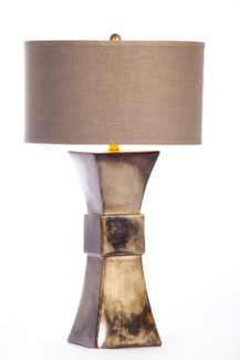 """Cooper Table Lamp in Oiled Steel Finish with Grey/Gold 18"""" Drum Shade"""