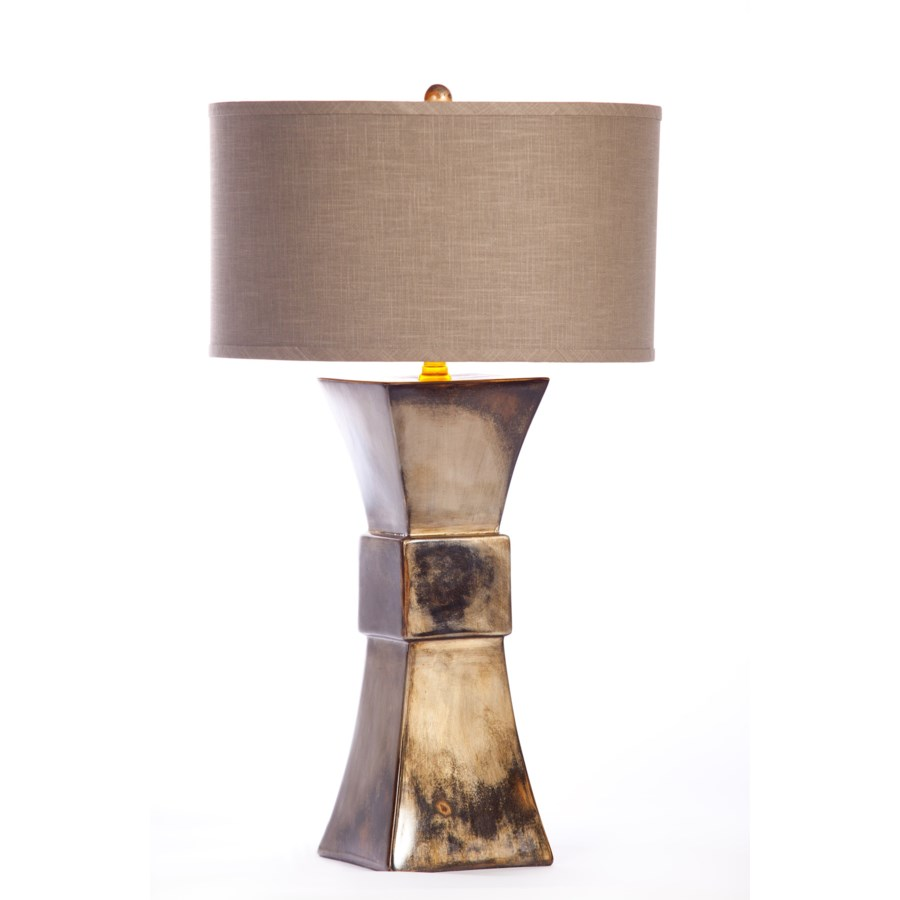 """""""Cooper Table Lamp in Oiled Steel Finish with Grey/Gold 18"""""""" Drum Shade"""""""