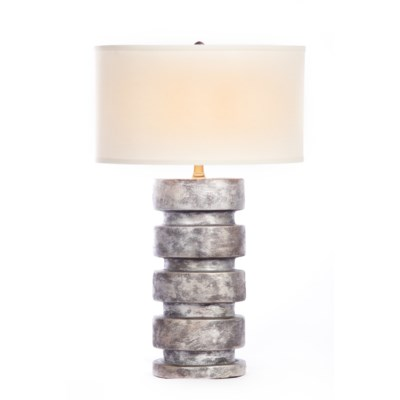 """Justin Table Lamp in Silver Cast Finish with White/White 18"""" Drum Shade"""