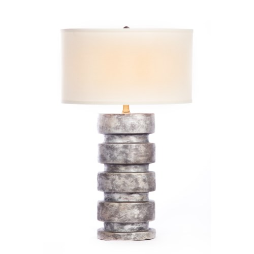 """""""Justin Table Lamp in Silver Cast Finish with White/White 18"""""""" Drum Shade"""""""