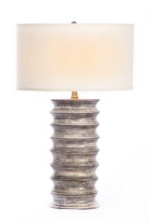 "Nicholas Table Lamp in London Sky Finish with White/White 18"" Drum Shade"