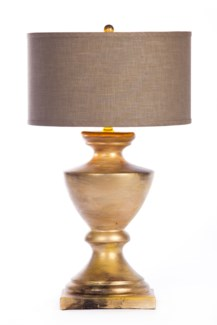 """Sofia Table Lamp in Aurum Finish Finish with Grey/Gold 18"""" Drum Shade"""