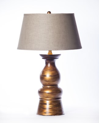 """Mason Table Lamp in Rockwood Finish with 18"""" Tapered Shade in Grey with Gold Lining"""