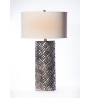 """Dalton Table Lamp in Silver Cast with  18"""" Drum Shade in Linen with White Lining"""