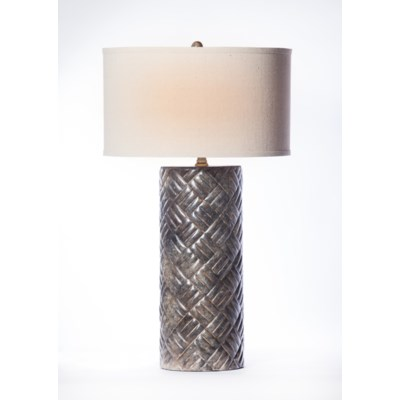 """""""Dalton Table Lamp in Silver Cast with  18"""""""" Drum Shade in Linen with White Lining"""""""