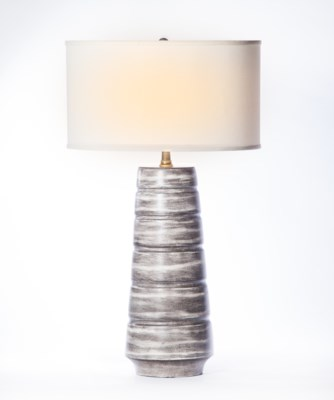 """""""Madison Table Lamp in  London Sky Finish with 18"""""""" Drum Shade in  White with White Lining"""""""