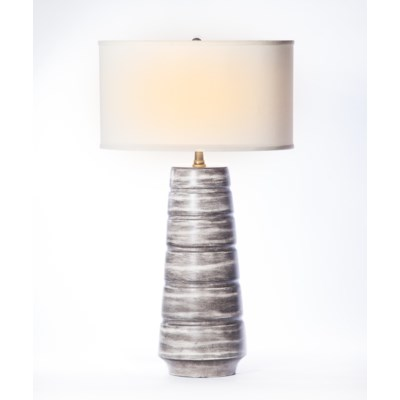 """Madison Table Lamp in  London Sky Finish with 18"""" Drum Shade in  White with White Lining"""