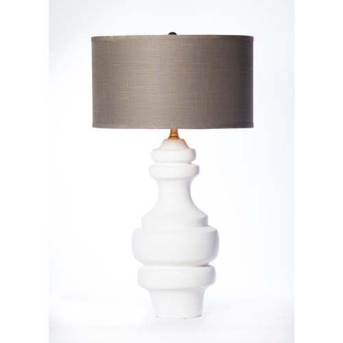 """""""Charlotte Large Ringed Table Lamp in Bianca Finish with 18""""""""  Drum Shade in Grey with Gold Lining"""""""