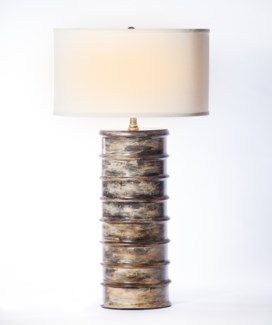 """Anthony Table Lamp in Tapestry Finish with 18""""  Drum Shade in White with White Lining"""