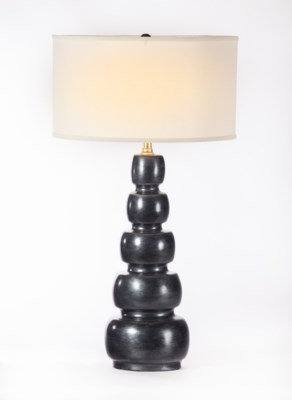 """Juliet Table Lamp in Caldron w/ White/White 18"""" Drum Shade"""
