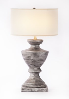 """""""Sofia Table Lamp in Silver Cast w/ White/White 18"""""""" Drum Shade"""""""