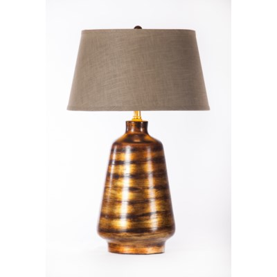 Victoria Table Lamp in Rockwood w/ Grey/Gold Taper Shade
