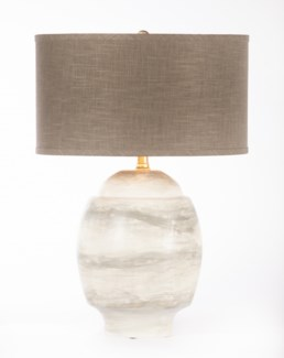 """Maria Table Lamp in Twister w/ Grey/Gold 18"""" Drum Shade"""