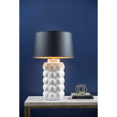 """Table Lamp in Bianca w/ Grey/Gold 18"""""""" Drum Shade"""
