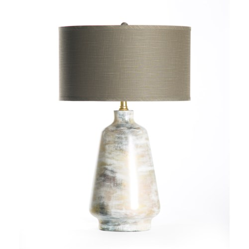 "Victoria Table Lamp in Patagonia with 18"" Grey/White Drum Shade"