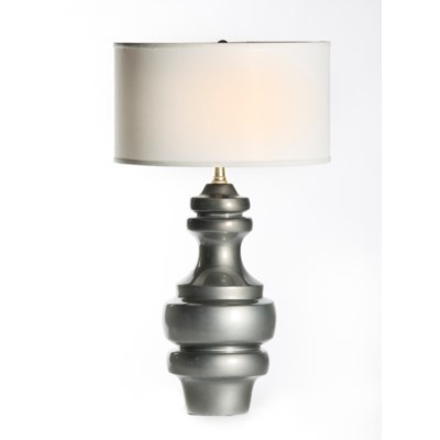 "Charlotte Large Ringed Table Lamp in Mercury with 18"" White/White Drum Shade"