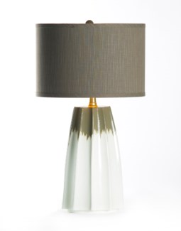 "Joseph Table Lamp in Lichen with 15"" Grey/Gold Drum Shade"