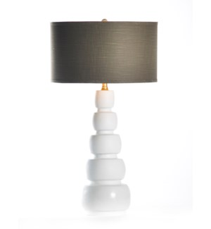 "Juliet Table Lamp in Bianca with 18"" Grey/Gold Drum Shade"