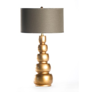 "Juliet Table Lamp in Aged Gold with 18"" Grey/White Drum Shade"