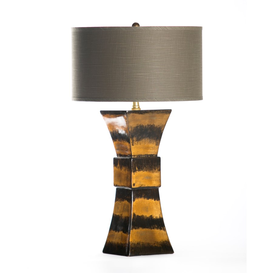 """Cooper Table Lamp in Gilded Hive with 18"""" GreyWhite Drum Shade"""