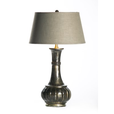 "Abigail Table Lamp in Coal with 18"" Grey/Gold Taper Shade"
