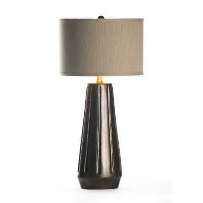 "Marley Table Lamp in Cast Iron with 15"" Grey/Gold Drum Shade"