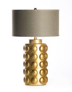 "Zoey Table Lamp in Saffron with 18"" Grey/Gold Drum Shade"
