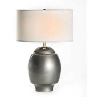 "Maria Table Lamp in Mercury with 18"" White/White Drum Shade"